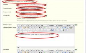 """Klicka på """"Klicka på Click here to improve product's rank in search engines (SEO)"""" och fyll i fälten Meta title, Meta description, Meta keywords, Friendly URL samt fyll i fältet Short description."""