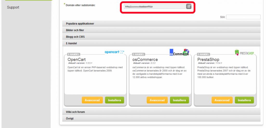 4. Välj vilken domän du ska installera webbshoppen på.