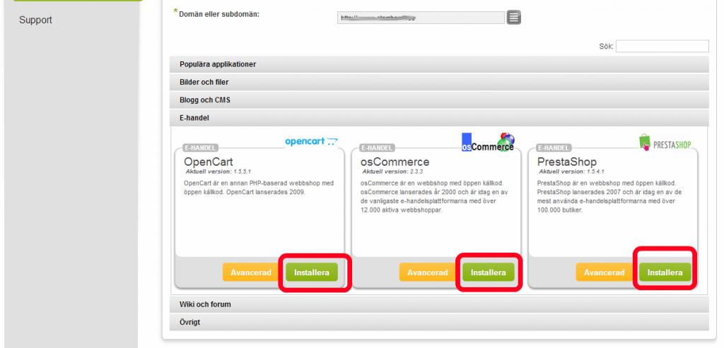 """6. Välj vilket webbshops system du vill installera och klicka på """"Installera""""."""
