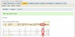 Under Enabled klickar du på den gröna bocken så att den blir ett rött kryss på de valutor du vill inaktivera.