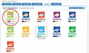 Välj ett passande färgshema för logotypen och klicka på den för att gå vidare.