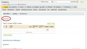 Klicka på Add new högst upp för att lägga till en ny tillverkare/varumärke.