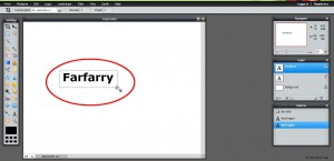 Markera texten med beskäringsverktyget.