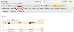 Klicka på SEO & URLs.