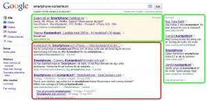 """Sökresultat på Google. Röd ruta markerar de """"organiska sökresultaten"""" och grön ruta markerar de """"sponsrade länkarna"""" (betalda annonser)."""
